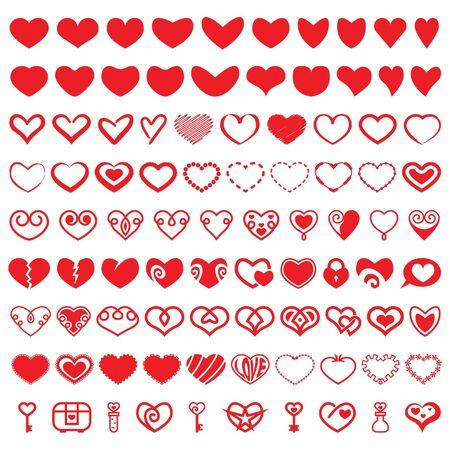seduction: Heart Shapes Vector Set Illustration