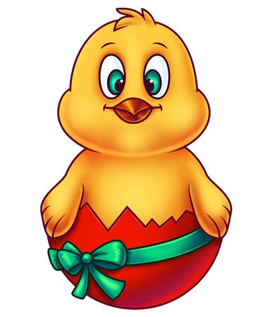 cartoon chicken: Yellow Easter Chicken in Egg Shell Stock Photo