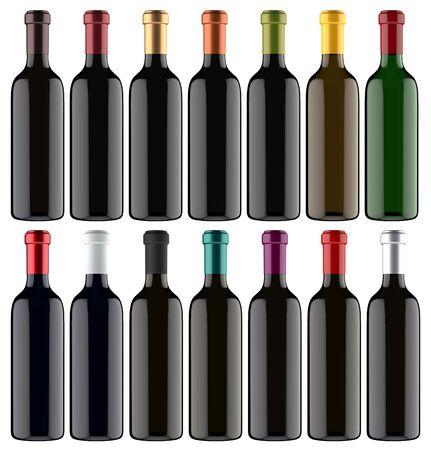 unopened: Set of 3D Wine Bottles