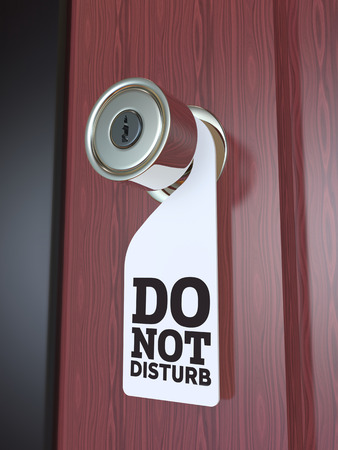 to disturb: Do Not Disturb Sign on the Door Handle 3D Render