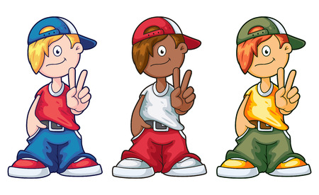 hip hop dance pose: Hip Hop Cartoon Boy Set