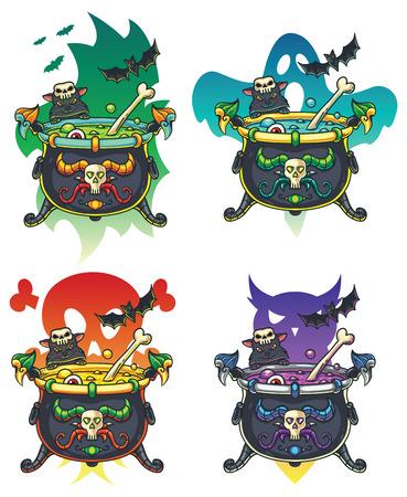 magic cauldron: Magic Halloween cauldron illustrations in different colors. Illustration