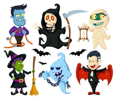 A set of cute flat cartoon characters for Halloween: vampire, witch with broomstick, monster with power cables, mummy with candle, ghost with chain, death with scythe. Illustration