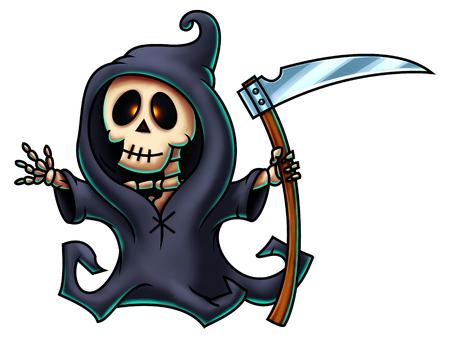 guada�a: Muerte con guada�a personaje de dibujos animados - pintura digital.