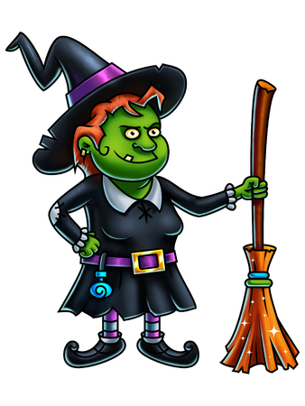 digital painting: Witch cartoon character with a broom - digital painting.