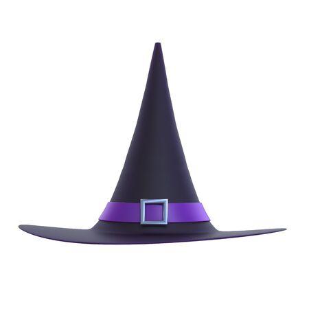 bruja: Halloween ilustración sombrero de bruja 3D aislado en blanco.