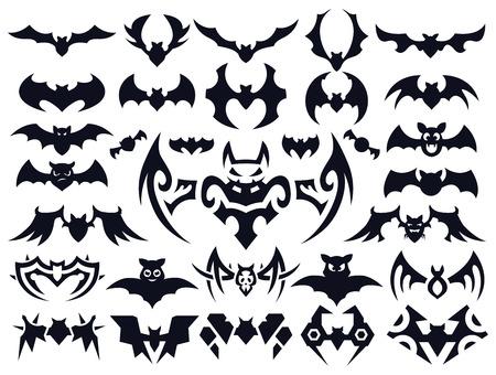 Set van vleermuizen in verschillende stijlen: natuurlijk, leuke cartoon, geometrische vormen en tribal tattoo stijl.