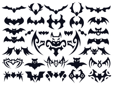 Set of bats in different styles: natural, cute cartoon, geometric shapes and tribal tattoo style.
