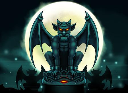 gargouille: gargouille Halloween illustration - sc�ne de nuit avec grande lune et gargouille statue aux yeux de braise - peinture num�rique. Banque d'images