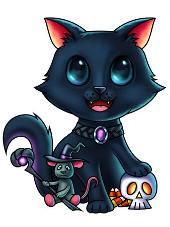 digital painting: A cute cat cartoon character with his paw on a skull and a little wizard mouse - Halloween illustration - digital painting