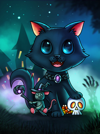 A cute cat cartoon character with his paw on a skull and a little wizard mouse - Halloween illustration - digital painting