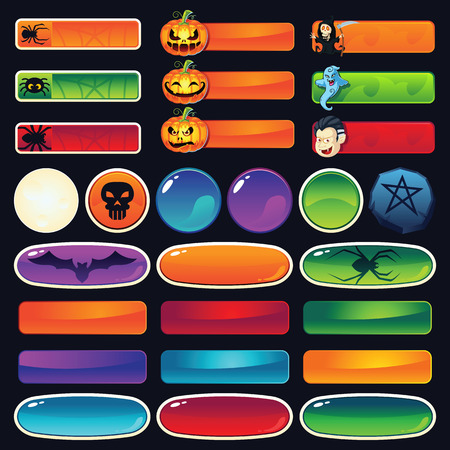 icon buttons: A set of empty Halloween buttons for web and games - add your text on top of the buttons. Examples of button use: buy now, contact, play, join now, etc.