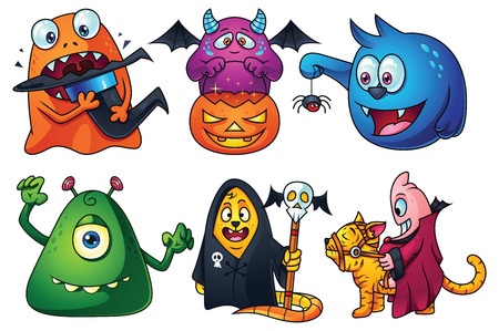 beast creature: A set of cute cartoon monsters for Halloween: orange creature eating witch hat, trick or treat purple monster, blue monster found a little spider, green monster trying to scare you, secret society beast, monster riding a cat. Illustration