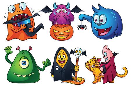 hat trick: Un set di mostri simpatici cartoni animati per Halloween: arancione creatura che mangia il cappello della strega, dolcetto o scherzetto mostro viola, mostro blu ha trovato un piccolo ragno, mostro verde cercando di spaventare voi, segreto bestia societ�, mostro in sella a un gatto.