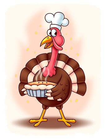 digital painting: Thanksgiving Cartoon Turkey with a steaming pie and a cook hat - Digital Painting. Great for thanksgiving and cooking projects or greeting cards. Stock Photo