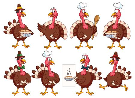 Thanksgiving Cartoon Turkeys Vector Set: turkey with cook hat, bow, pie, recipe, spoon. Great for thanksgiving and cooking projects or greeting cards. Ilustracja