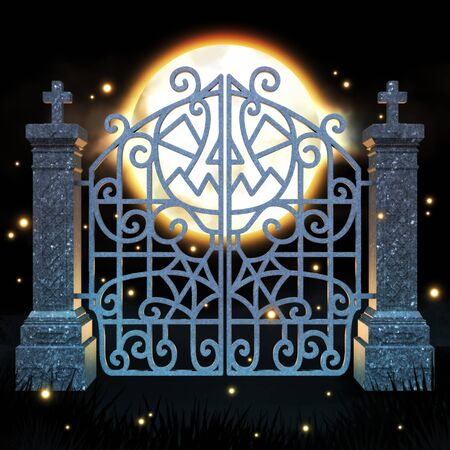 spider web: Halloween gate 3D illustration - night scene - pumpkin and spider web included in gate design.