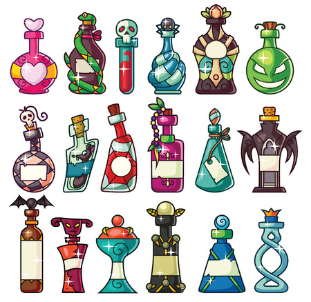 A set of magic potion bottles set - great for Halloween projects, games, websites, where you need some special bottles: magic potion, poison, love potion, snake venom, spider venom, elixir. Illustration