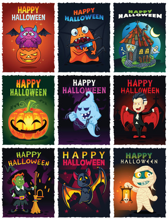 monsters house: Happy Halloween vector illustrations set. Contain illustrations with cute monsters, haunted house, ghost, vampire, witch, bat and mummy. Can be used for greeting cards, posters, flyers etc.