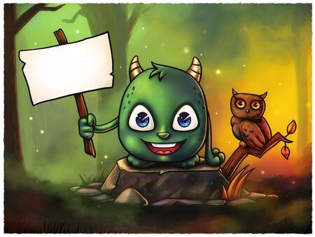 animales del bosque: Historieta linda del monstruo de Halloween celebraci�n de signo vac�o, puede poner su propio texto all� - Pintura Digital. Grande para los sitios web, tarjetas de felicitaci�n, impresos en sus productos, etc.