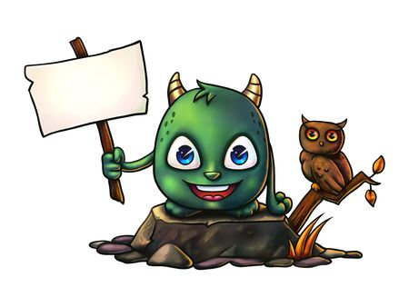 digital painting: Cute cartoon Halloween monster holding empty sign you can place your own text there - Digital Painting. Great for websites, greeting cards, printed on your products, etc.