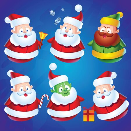 christmas candy: Cute cartoon Santa Claus characters set for Christmas plus green Grinch character. Santa with bell, candy cane, gift and snowflakes.