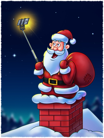 claus: Santa Claus cartoon character on chimney making selfies for his fans using a selfie stick - Digital Painting. Great illustration for Christmas projects, greeting cards, etc.