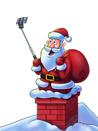 Santa Claus cartoon character on chimney making selfies for his fans using a selfie stick - Digital Painting. Great illustration for Christmas projects, greeting cards, etc. Isolated on white background.