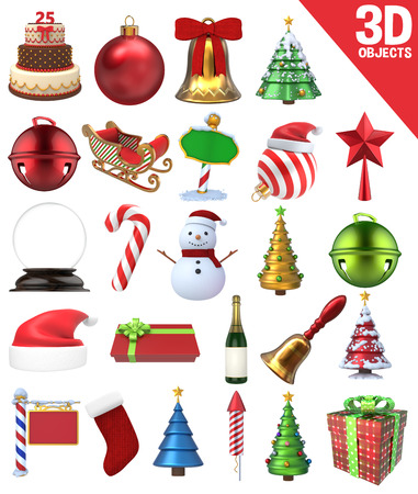 christmas hat: A set of 25 Christmas Objects - 3D Renders: gifts, candy cane, bells, snowman, sign and other ornaments.