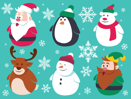 polar: Christmas flat characters set. Contain cute vector cartoon characters like santa claus, penguin, polar bear, reindeer, snowman and a little elf.