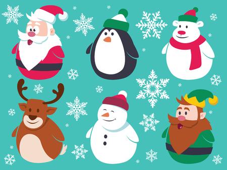 pinguinos navidenos: Personajes planos Navidad fijados. Contener personajes de dibujos animados lindo del vector como Papá Noel, pingüino, oso polar, reno, muñeco de nieve y un pequeño elfo. Vectores
