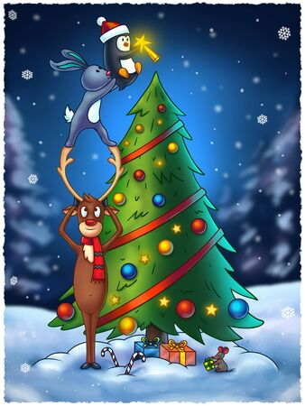 decorating: Cartoon animals decorating a Christmas tree. This funny digital painting contain four animals: reindeer, rabbit, penguin and a little mouse. Great illustration for Christmas projects and greeting cards.