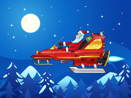 fly cartoon: Vector illustration with Cartoon Santa Claus driving a futuristic sleigh. Sleigh has been upgraded to the new model that has 1000 reindeer power