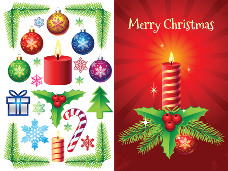 pine branch: Christmas vector decorations set with different elements like: christmas bulbs, pine branch, mistletoe, snowflakes, gift, candy cane, candle. Illustration