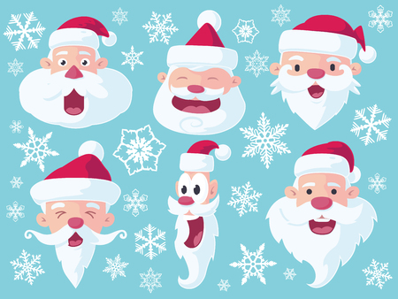santa claus hats: A set of 6 vector cartoon Santa Claus heads for Christmas - flat style.