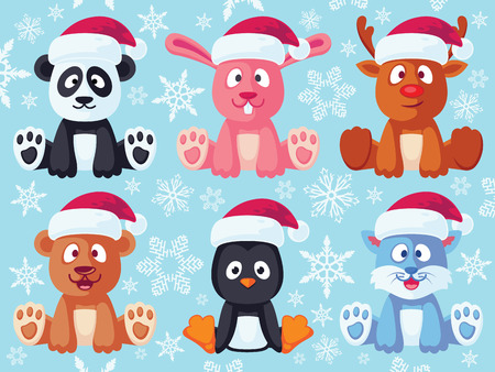 Christmas flat animals set. Contain cute vector baby animal cartoon characters with santa hat like: bear, bunny, panda, reindeer, cat and penguin.