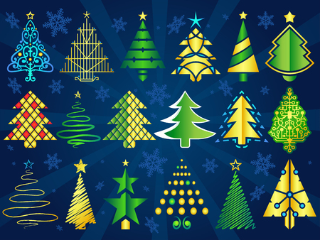 star ornament: A set of stylized vector Christmas trees. Illustration