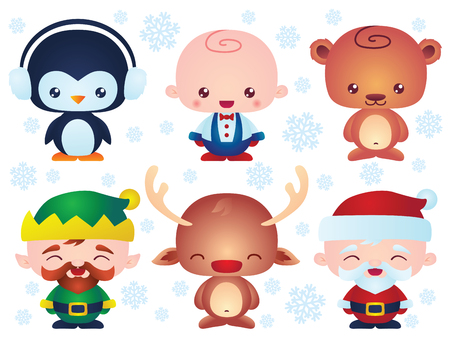 vector cartoons: Set of cute Christmas baby characters. Contain happy little vector cartoons characters like: santa, kid, elf, bear, reindeer, penguin.