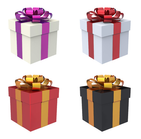 black: Gift Box 3D Render. Available in different colors white, red, black box with gold, red and purple ribbon.