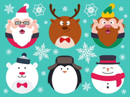 cute: Conjunto de caracteres redondos planos de Navidad. Contener personajes de dibujos animados vector de grasa lindos como Papá Noel, pingüino, oso polar, elfo, muñeco de nieve y renos.