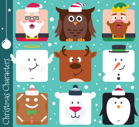 Set of square flat Christmas characters. Contain cute vector cartoon characters like santa claus, penguin, polar bear, elf, snowman, owl, angel, gingerbread man and reindeer.