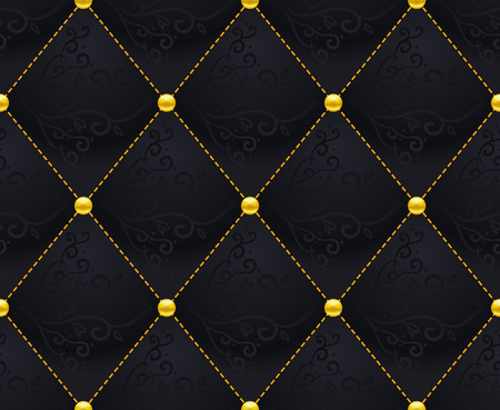 quilted: Black Quilted Seamless Vector Pattern.Vector background made with gradient mesh. Great for luxury and VIP projects.