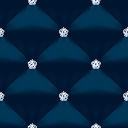 Blue Quilted Seamless Vector Pattern.Vector background made with gradient mesh. Great for luxury and VIP projects. Ilustracja