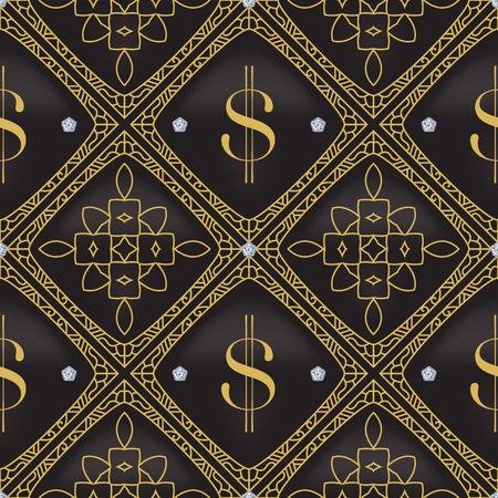 ドルは、シームレスなベクトル パターンをキルトしました。 ベクトルの背景がグラデーション メッシュで作られました。豪華さと VIP プロジェクト  イラスト・ベクター素材