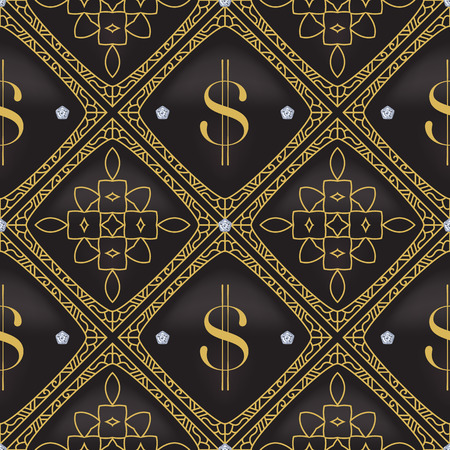 Dollar Quilted Seamless Vector Pattern. Vector background made with gradient mesh. Great for luxury and VIP projects.
