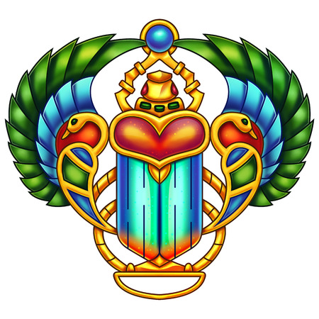 egyptian culture: Colorful Egyptian Scarab Digital Painting. Great for greeting cards, games, decorations, printed on different products, etc.