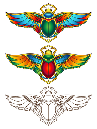 Egyptian Scarab Colorful Vector Illustration. Available in 2 color versions + line art (can be used for coloring). Stock Illustratie