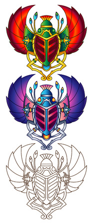 egyptian culture: Egyptian Scarab Colorful Vector Illustration. Available in 2 color versions + line art (can be used for coloring). Illustration