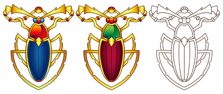 Egyptian Scarab Colorful Vector Illustration. Available in 2 color versions + line art (can be used for coloring). Ilustracja