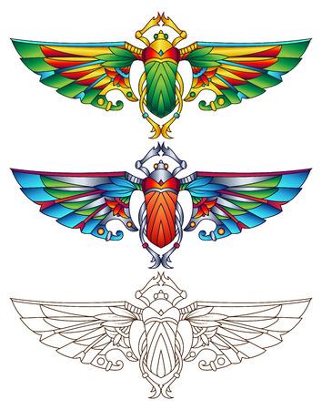 Escarabajo egipcio colorido Ilustración del vector. Disponible en 2 versiones de color arte de línea se puede utilizar para la coloración.